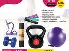 Kettle bell, Ball, Yoga Mat, bands, Body trimmer & Cement dumbbells on Ramadan Sale! Combo Offer!