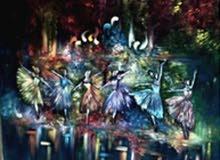 لوحة بالرسم الزيتي عبارة عن راقصات بالية الفن التجريدي