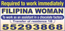Required to work A Filipino lady, sales lady in food store Visa 18  18