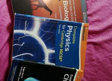 IGCSE, physics, chemistry and biology CAMBRIDGE books.