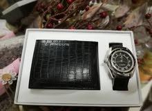 ساعة رجالية مع محفظة