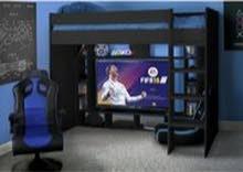 سرير اطفال عالى فردي لون اسود به مساحة شاشة 55 بوصة