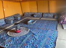 مخيم كامل جديد، خيمتين جدد وقعدة خارجية وحمام ومطبخ وخزانين ماء