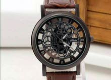 skeleton leather strap watch