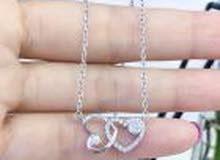 925 Sterling Silver Diamond Cubic Zirconia Eternity Love Double Heart Silver Heart Necklace