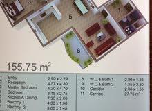 شقة للبيع مساحة 155م بسعر مناسب