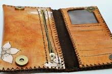شنطة جلد طبيعي 100% + محفظة + مادلية