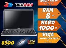 laptop dell core i7 ram 8 hdd 1000 viga nvidia + intel لالعاب 2018 وبرامج الجرافيك
