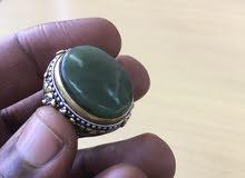 عقيق يمني أخضر فضه صياغه يدوي