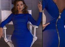 فستان نيلي طويل