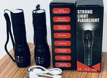 Led flashlight light chargerble 2 pices