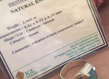 للبيع خاتم زمرد كلومبي أصلي 100% مع شهاده عالميه
