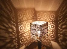 أباجورة خشب نقش عربي