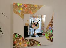00965 94932150 wall clock gold mosaic shiny 55x55 fram mirror 30x30cm