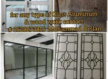 aluminium  glass and wood work