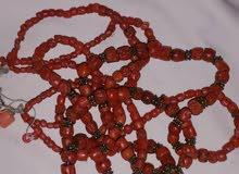 سبحة مرجان للبيع مكونة من أحجار المرجان باللون الأحمر الاصلي