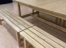 Table with benches  طاولة مع مقاعد