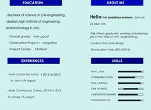 مهندس مدني حديث تخرج يبحث عن عمل