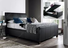 King Size Bed Black Leather