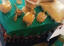 مفرش اخضر مع مباخر ذهبيات للاجار