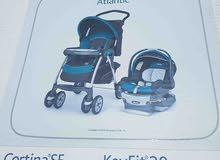 عربية اطفال مع كرسي سيارة شيكو + ارضية للعب + كرسي اطفال للاكل