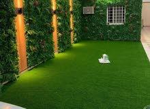 تنسيق الحدائق شلالات نوافير عشب طبيعي عشب صناعي نخل مظله