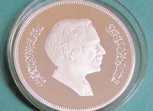 عملة اردنية من الفضة النقية ديناران ونصف