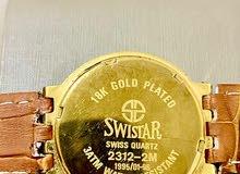 ساعة SWISTAR سويسرية أصلية مطلية بذهب عيار 18 مصنوع منها 96 قطعة فقط هذي القطعة رقم 1
