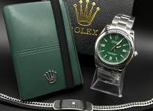 طقم رولكس ساعة + محفظة + اسوارة مع البوكس