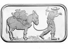1 oz .999 Silver Bar - Retro Prospector - Silvertowne - Sealed -