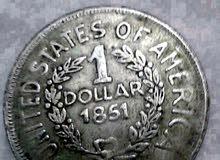 للبيع دولار أمريكي قديم واحد سنة 1851 والثاني 1898