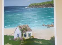 لوحة فنية مميزة little house beside the beach