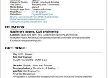 مهندس مدني خريج 2016، لدى خبرة داخل الامارات، لدى تصنيف دبي، لدى تصنيف الشارقة G