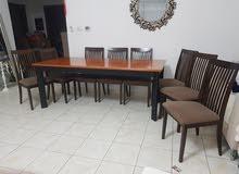طاولة طعام +8 كراسي    خشب .