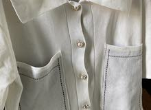 Brand New Beige Shirt With Pearl Buttons And Black Embroidery