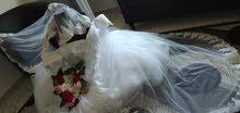 فستان زفاف جديد للايجار مقاس من 42الي 46