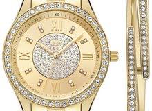 ساعة نسائية مرصعة ب 16 فص الماس طبيعي ومطلية ذهب عيار 18
