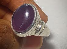 للبيع خاتم عقيق يماني بنفسجي طبيعي