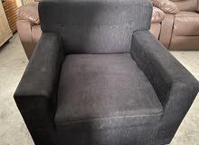 black three seater + 2 no of single seater sofa