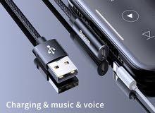 كابل شحن مع منفذ للسماعه للايفون - Charging cable with earphone port for iPhone