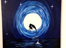لوحة جداريه كبيره منظر حورية البحر في الليل