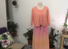 pink maxi with cardigan