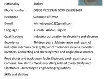 باحث عن عمل تركي لديه خبره 13 سنه في مجال الصيانه والاصلاح