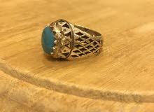 خاتم فيروز فضة أصلية للبيع مع سبحة هدية