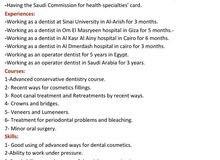 طبيب اسنان عام مصرى