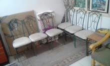 طاولة سفرة حديد مع 6 كراسي قوايم حديد