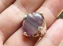 خاتم فضة بحجر الفلورايت البرازيلي لون جميل