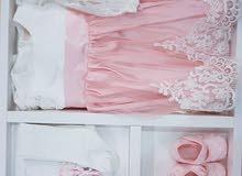 فستان اطفال مميز 4 قطع ، صناعة تركية عدة الوان