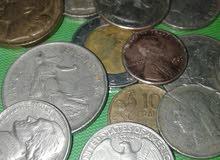 عملات نقدية قديمة فرنسية 50فرنك 10 فرنك يرجع تاريخها الى سنوات الخمسينات وهناك عملات اماراتية وغيرها
