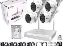 كاميرات مراقبة بدون إسلاك جودة 2m.p إمكانية الربط بالإنترنت والمشاهدة من اي مكان